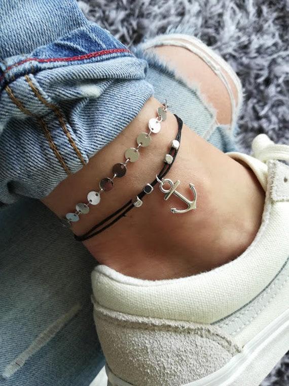 Silver Hamsa Hand Ankle Bracelet Anklet Adjustable Chain Foot Boho Body