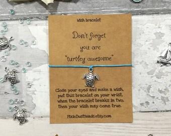 Turtle Wish Bracelet, Turtle Bracelet, Turtle Jewellery, Sea Turtle Bracelet, Turtle Charm, Funny Bracelet, Turtle Gift, Sealife Gift