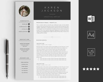 Creative resume template for Word - Instant download CV template -  Design with cover letter, icons and multiple pages - easy edit Résumé