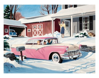 Poster - Advertising for the Ford Fairlaine Christmas 1956. -Fine art gallery