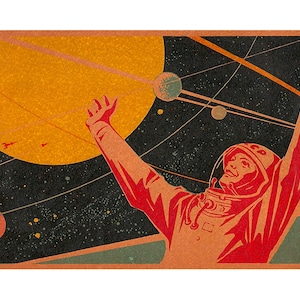 The first woman in space in 1963 Soviet cosmonaut Valentin apart from the ship Vostok-6 orbits the Earth Valerian Bykowski continues to fly