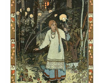 "Poster - Ivan Bilibine - Illustration to tale ""Vasilisa the beautiful"" - 1900 - fine art gallery"