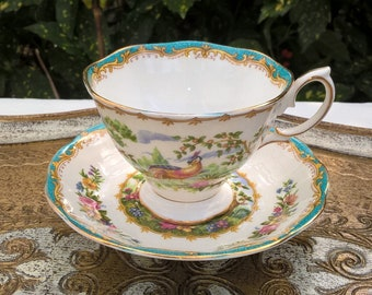 Tableware Circa 1941. Royal Albert Chelsea Bird Vintage Tea Cup Trio Set