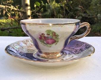 Versailles vintage teacup and saucer, Lusterware with fragonard decor