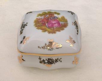 Vintage porcelain Trinket Box with fragonard decor, Limoges Trinket Box, Pill box