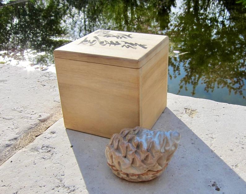 Pine Japanese taupe Natural Plant Studio Pottery Incense Case Small Container Box Pinecone Hagi Ware Kogo