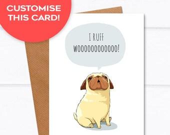 Pug Card - I love you custom cards, anniversary card for her, pug anniversary card for husband boyfriend card for wife pug card for him