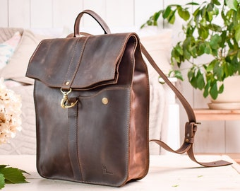 83c4b7ebb45d Brown leather backpack purse women GIFT bag   Hand Crafted   6 colors Full  Grain leather   Vintage style   High quality rucksack for laptop