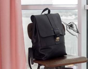 Large backpack leather,Black leather backpack,Large black back pack,Laptop backpack black,Black rucksack laptop,Handmade backpack large