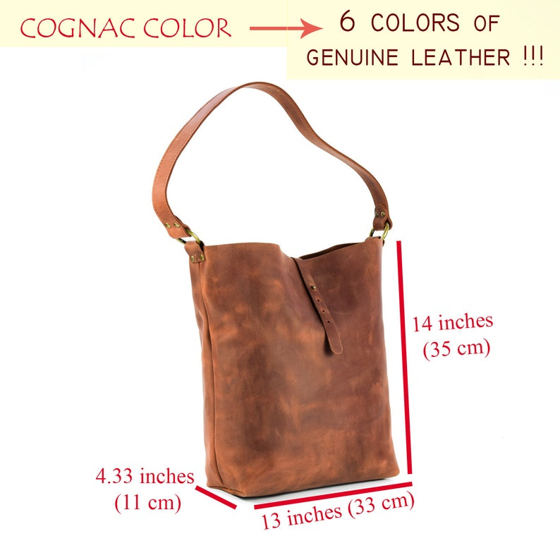 Leather tote bag for womanLeather bucket bagShoulder /& Crossbody pursePERSONALIZED6 colorsLeather Crazy horse