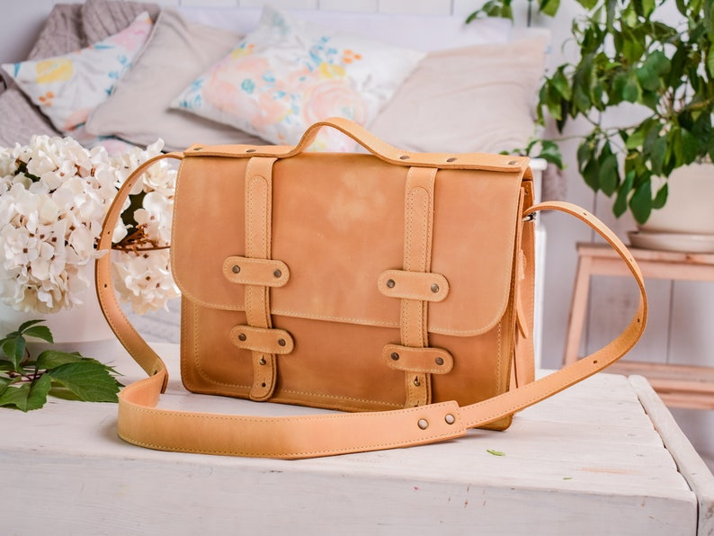 0851fef35b5b Leather camel briefcase Leather messenger bag Leather bag