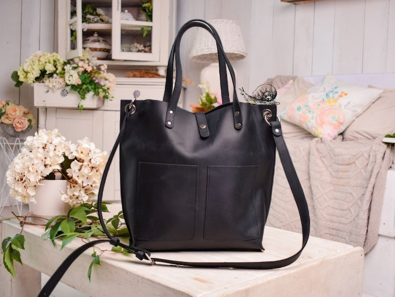 Monogram bags women Leather purse crossbody bag women gifts Black leather tote bag with pockets CROSSBODY leather Tote bag with zipper