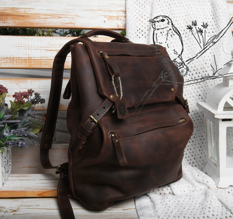 98e755238b Leather backpack women brown leather backpack leather