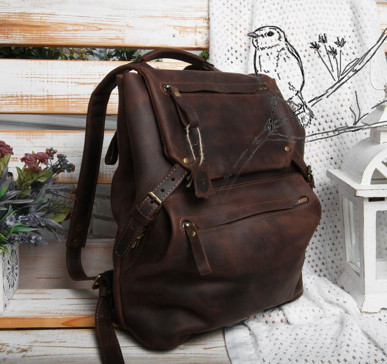 Leather backpack women brown leather backpack leather  af6d2b1b1f3fd