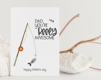 Dad You're Reely Awesome Card, Printable Father's Day Card, Dad Joke Greetings Card, Funny Card for Dad, Digital Download ONLY
