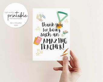 Printable Teacher Card, Teacher Appreciation Printable, Teacher Thank You Card, Digital Download ONLY