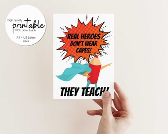 Printable Teacher Christmas Card, Teacher Appreciation Printable, Teacher Thank You Card, Digital Download ONLY
