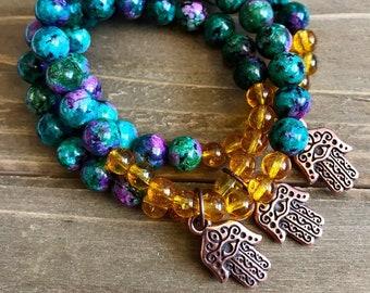 Ruby Zoisite /Citrine/stretch bracelet/copper Hamsa charm/arm candy
