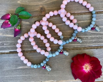 Pink Opal and Labradorite stretch bracelet with a Buddha charm and a tiny Red Jade rondelle