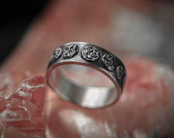 Moon Phase Silver Ring, Lunar phase Ring