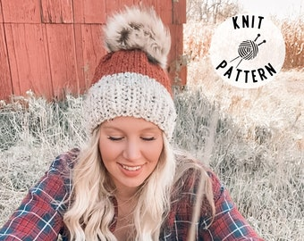 Knit Hat PATTERN - The Harvest Knit Beanie pattern, beginner knit beanie pattern, two tone hat pattern
