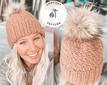 Crochet Hat Pattern - Magnolia Toque Crochet pattern, Crochet beanie pattern, Double brim crochet pattern
