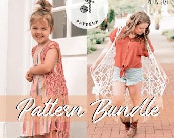 Drifter Boho Vest Pattern Bundle - Adult and child size patterns - Crochet PATTERN
