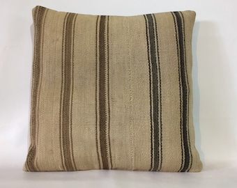 Organic Wool, Kilim Pillow, Flat Weave Pillow, Boho Large Pillow, 24x24  Pillow Cover, Kilim Pillow Cover, 60x60 Cm Cushion, Cream Pillow