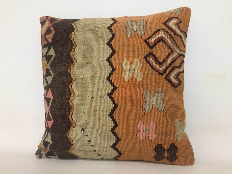 Home Decor Living Room Cushion Cover Unique Handmade Kilim Pillow Turkish Kilim Pillow Handmade Pillow 18x18 Pillow Cover Vintage
