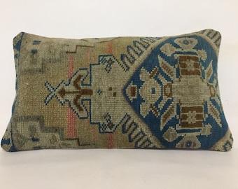 """Wool pillow, Kilim pillow, Unique design cushion, Lumbar pillow, 12""""x20"""" Pillow cover, 30x50 Cm Cushion cover, Handmade kilim pillow, Pillow"""