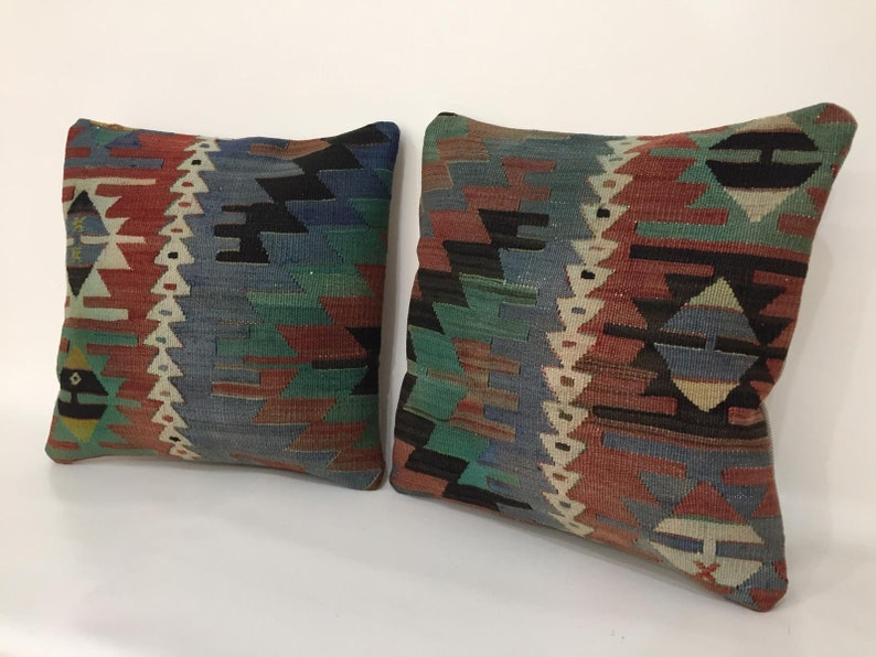 Vintage Handmade Set of Two Pillow Case Bohemian Kilim Pillow Blue Muted Kilim Pillow Pillow Case 16X16 Pillow Cover Pair Pillow Cover