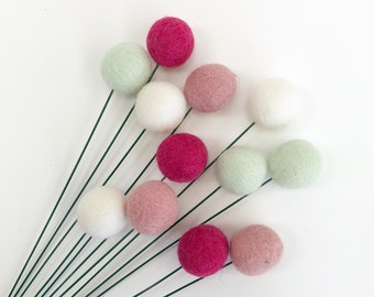 Floating Shelf Decor, Wool Felt Balls, Pompom Flowers, Craspedia Billy Buttons, Bridesmaid Bouquet, Mother's Day Gift, Billy Button Flowers.