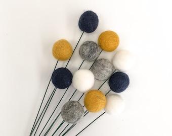 Pompom Flowers, Wool Felt Balls, Billy Buttons, Bridesmaid Bouquet, Felt Pom Poms, Craspedia Billy Buttons, Mother's Day Gift,Gender Neutral