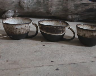 Cup Pottery rustic black and white