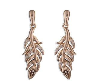 Rose Gold-Plated with White Cubic Zirconia Feather Drop Sterling Silver Earrings