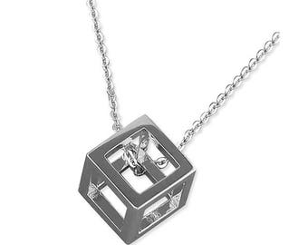 Rhodium-Plated Outline Cube Sterling Silver Necklaces