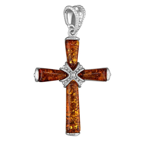 Sterling Silver.925 Religious Cognac Amber Strapped Cross Pendant
