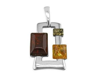Mixed Amber Abstract Oblong Sterling Silver Pendant