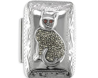 Marcasite Cat Oblong Sterling Silver Box