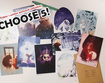 CHOOSE 5! - Fabias winter postcard collection
