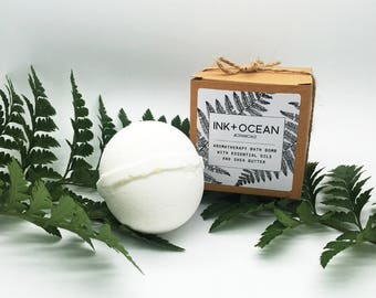 Vitalising Aromatherapy Bath Bomb With Grapefruit, Wild Mint And May Chang Essential Oils, Shea Butter And Bath Salts. Vegan