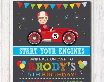 Race Car Birthday Invitation, Race Invitation, Racing Car Invite, Boys Birthday, printable