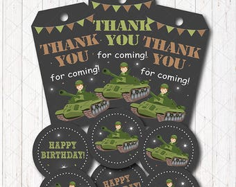INSTANT DOWNLOAD - TankThank you tags and Cupcake toppers, Army Birthday, Army Party, printable