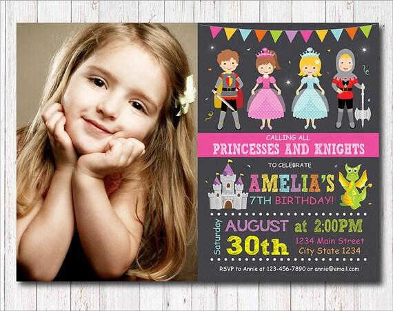 Księżniczki Zaproszenie Zaproszenie Rycerzy Urodziny Etsy