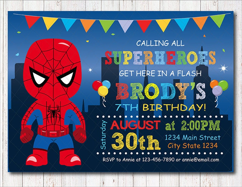 Spiderman Invitation Birthday Party