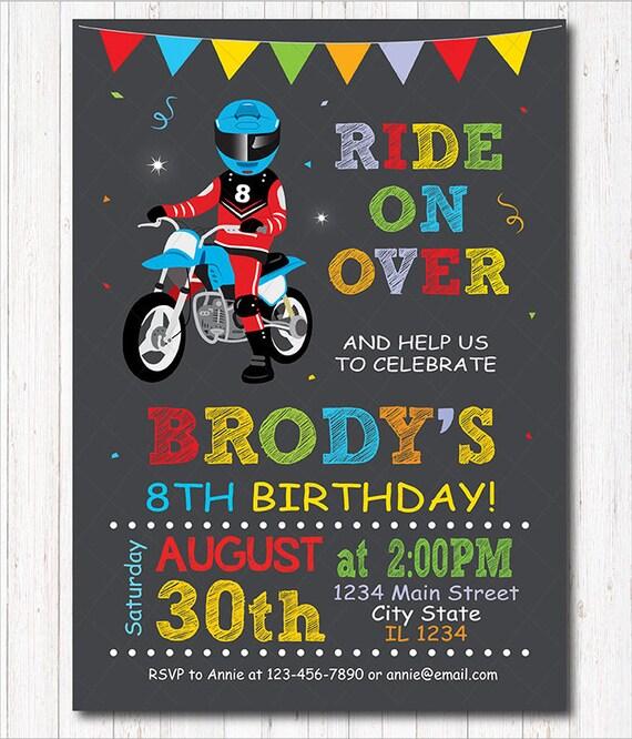 Motocross Birthday Invitation Dirt Bike