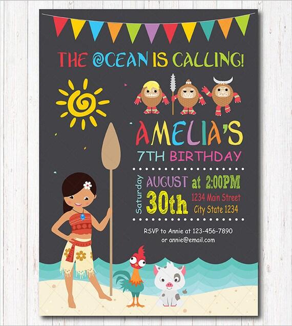 Moana Birthday Invitation Invite Party