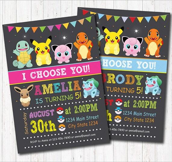 Pokemon Birthday Invitation Party Invite Chalkboard Printable