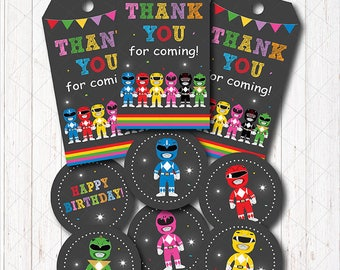 INSTANT DOWNLOAD - Power Rangers Thank you tags and Cupcake toppers,  Power Rangers Birthday,  Power Rangers Party, prtinable