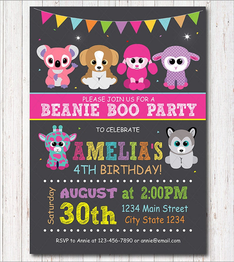8954812f0bf Beanie Boo Invitation Beanie Boo Invite Beanie Boo Birthday